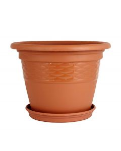 Round Plastic Flower Pots (8 x 8 x 6 Inch, Terracotta) Outdoor & Indoor Gardening Pack of 1