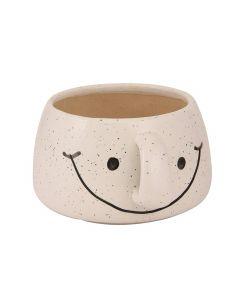 White Smiley Cup Shape Ceramic Flower Pot