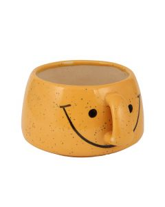 Yellow Smiley Cup Shape Ceramic Flower Pot