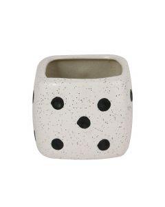 White Dice Square Shape Ceramic Flower Pot