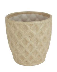 Beige Ceramic Pineapple Shape Handmade Flower Pot