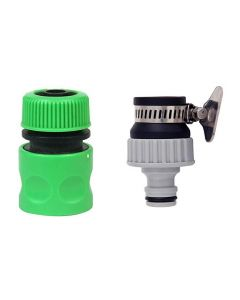 1/2 Inch Hose Nozzle & 1/2 & 3/4 Inch Tap Connector for Quick Water Hose & Tap Fitting for Garden Pack 2