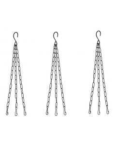 Metal Chain with Hook for Hanging Basket,Bird Feeder Hanging Pots (Black,Pack of 3)