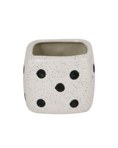 White Dice Square Shape Ceramic Flower Pot