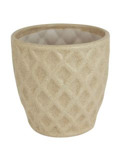 Beige Ceramic Pineapple Shape Handmade Flower Pot