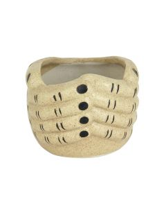 Beige Ceramic Hand Shape Handmade Flower Pot