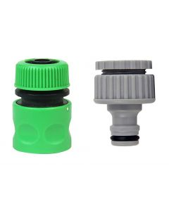 1/2 & 3/4 Inch Hose Nozzle & Tap Connector for Quick Water Hose & Tap Fitting for Garden Pack 2