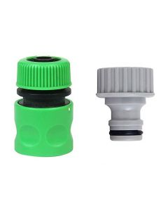 1/2 Inch Hose Nozzle & 3/4 Inch Tap Connector for Quick Water Hose & Tap Fitting for Garden Pack 2