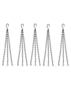Metal Chain with Hook for Hanging Basket,Bird Feeder Hanging Pots (Black,Pack of 5)