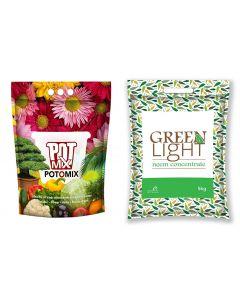 Pot O Mix & Green Light Combo Ready to Use Potting Soil (10 Kg)